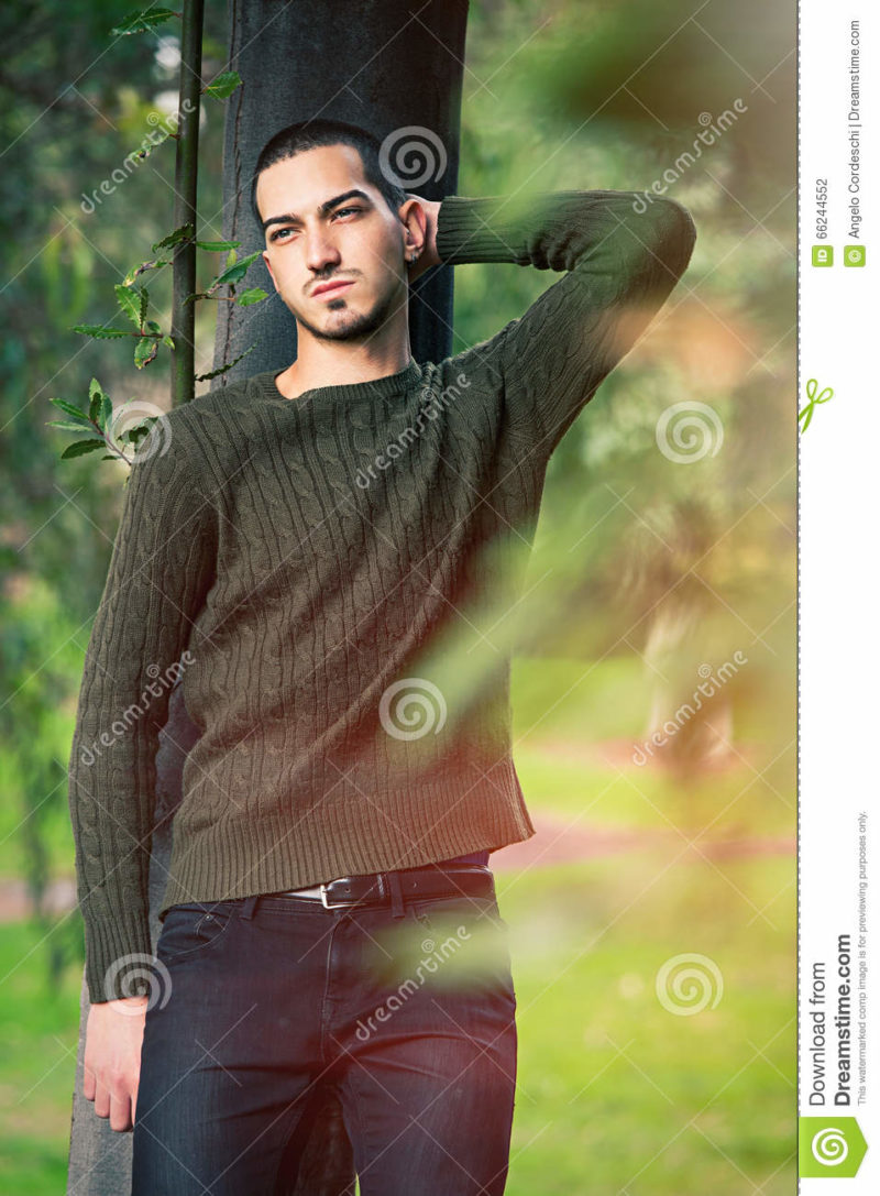 Model man short hair leaning against a tree in a nature scene A young and handsome guy leaning against a tree in nature relaxing in a natural park. Autumn fashion.