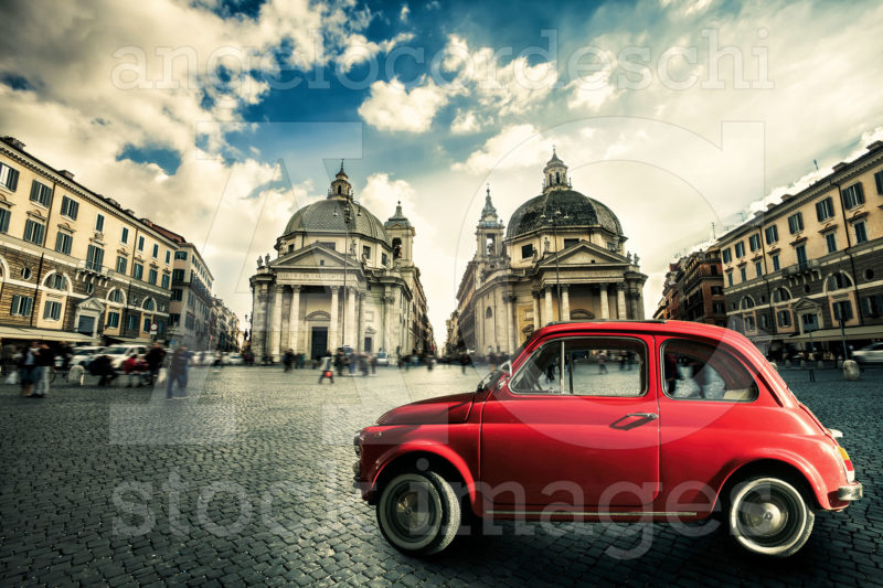 Fiat 500 Cinquecento Old Red Vintage Car Italian Scene In The Historic Center Of Rome Italy