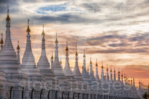 Pagoda Series In Line At Sunset In The Mandalay Region Aungmyaythazan In Burma
