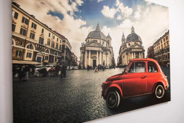 Stampa di tela 120 x 80 cm. Fiat 500 Cinquecento a Piazza Del Popolo