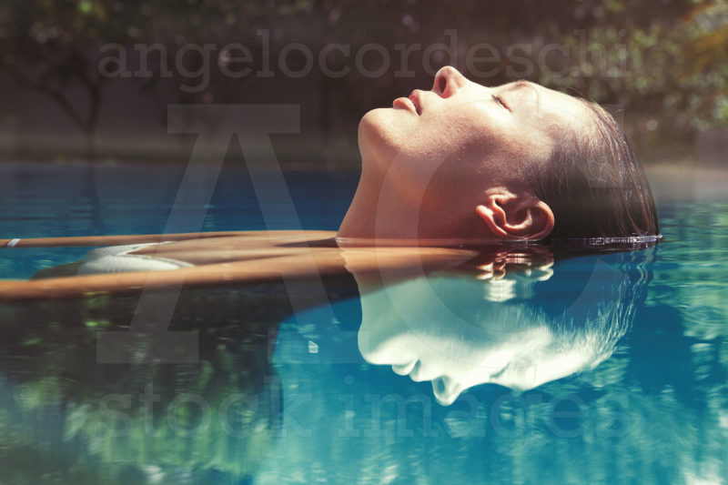 Stock Photo Enjoy Summer Woman Relaxing Pool Water Beautiful Floating Swimming Relaxation Peace Eyes Closed Wellness