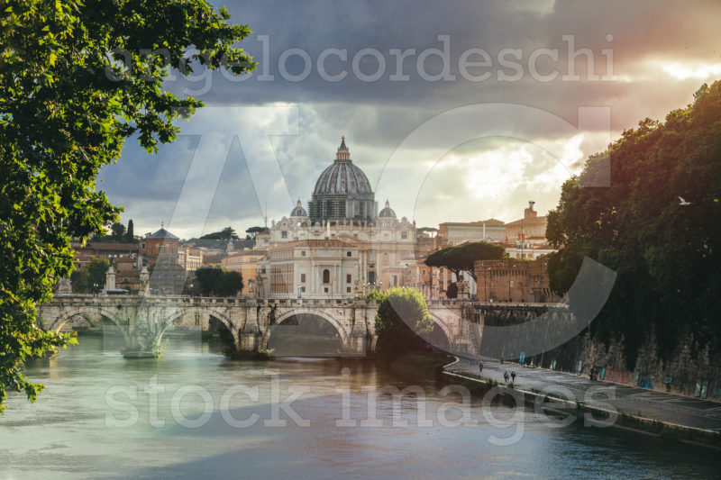 Rome, Italy. June 10, 2020: Tiber River And St. Peter's Dome At