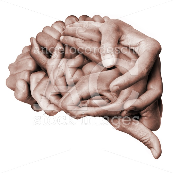 A Human Brain Made With Hands, Different Hands Are Wrapped Toget Angelo Cordeschi