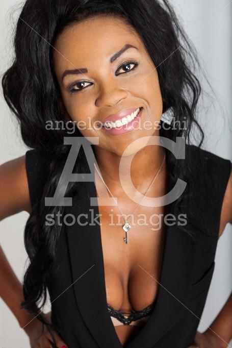Beautiful And Smiling Black Afro Woman. Positive Black Sexy Fema Angelo Cordeschi