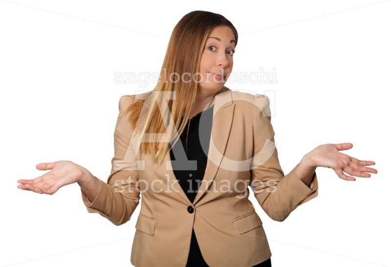 Beautiful Business Woman With Open Arms Wide, In Sign Of Incredu Angelo Cordeschi