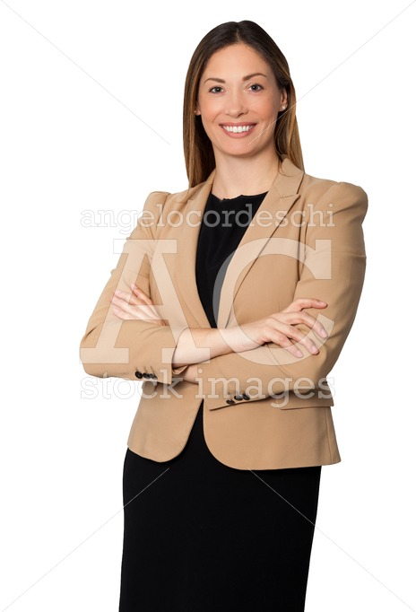 Beautiful Businesswoman Arms Folded Standing, Smiling With Black Angelo Cordeschi