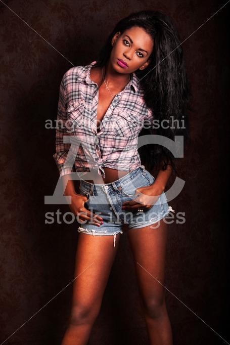 Beautiful Young Black Woman. African Model On Dark Background. C Angelo Cordeschi