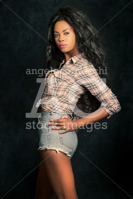 Beautiful Young Black Woman. Afro Model With Dark Background. Ca Angelo Cordeschi