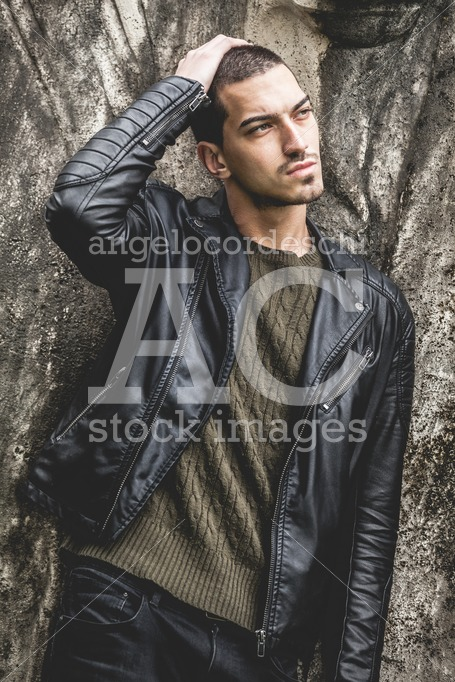 Beautiful Young Cool Man With Hand On Head With Rock Style, Leat Angelo Cordeschi