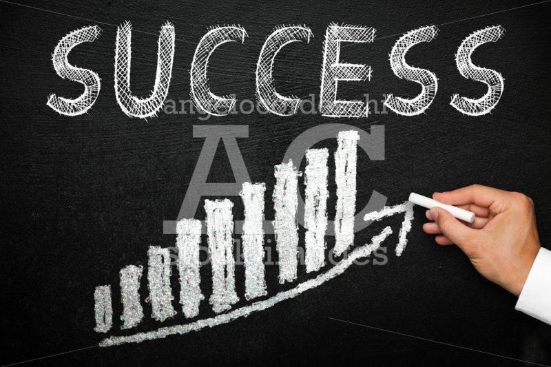 Blackboard with handwritten success text. Arrow going upwards an - Angelo Cordeschi