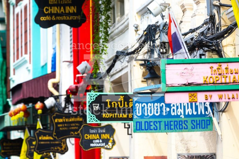 Business Signboards Along A Street In The Old Town Of Phuket In Angelo Cordeschi