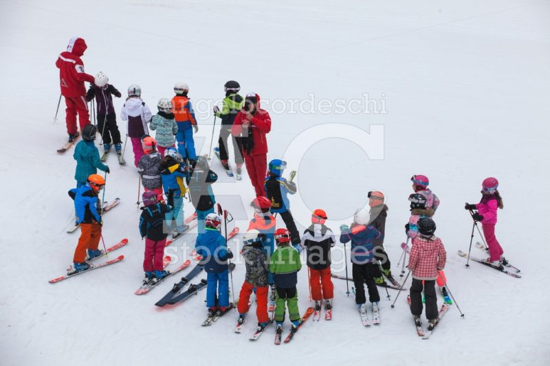 Chamonix, France. March 13, 2018: Ski School With Numerous Child Angelo Cordeschi