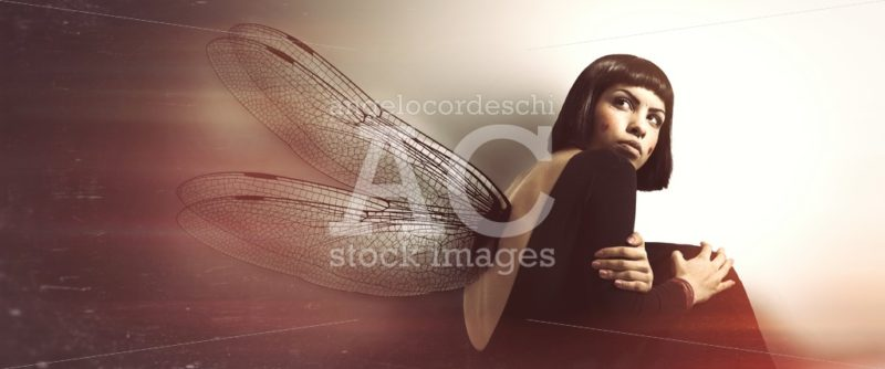 Delicate, feminine fragility. Young woman with wings. Conceptual - Angelo Cordeschi