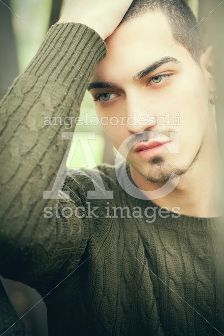 Handsome Man Green Eyes And Short Hair. Close Portrait Of A Beau Angelo Cordeschi