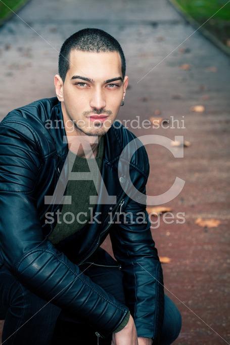 Handsome Man Short Hair Style Outdoors. Road With Autumn Scene B Angelo Cordeschi