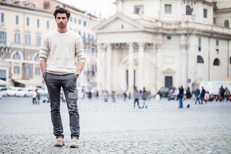 Handsome Young Man Outdoor In The Street In The City With Hands Angelo Cordeschi