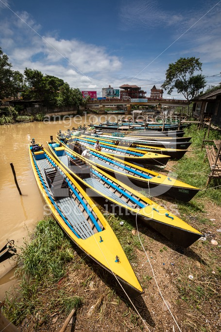Inle Boat Station In Inle Nyaung Shwe Canal In Myanmar. A Series Angelo Cordeschi