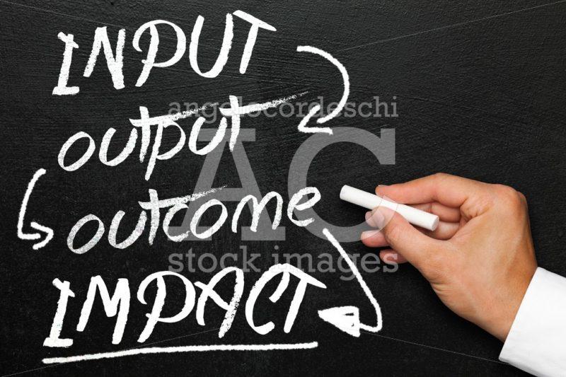 Input output outcome impact, blackboard or chalkboard with hand. - Angelo Cordeschi