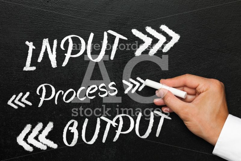 Input process output with arrows, blackboard or chalkboard with - Angelo Cordeschi
