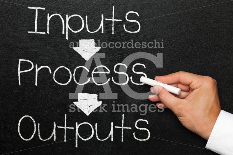 Inputs process outputs, blackboard or chalkboard with hand. Moni - Angelo Cordeschi