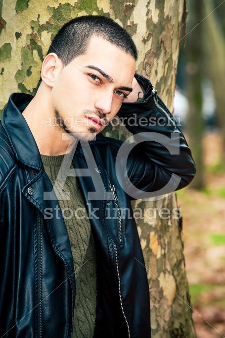 Italian Man Portrait Outdoors. Handsome Male. Portrait Of A Youn Angelo Cordeschi
