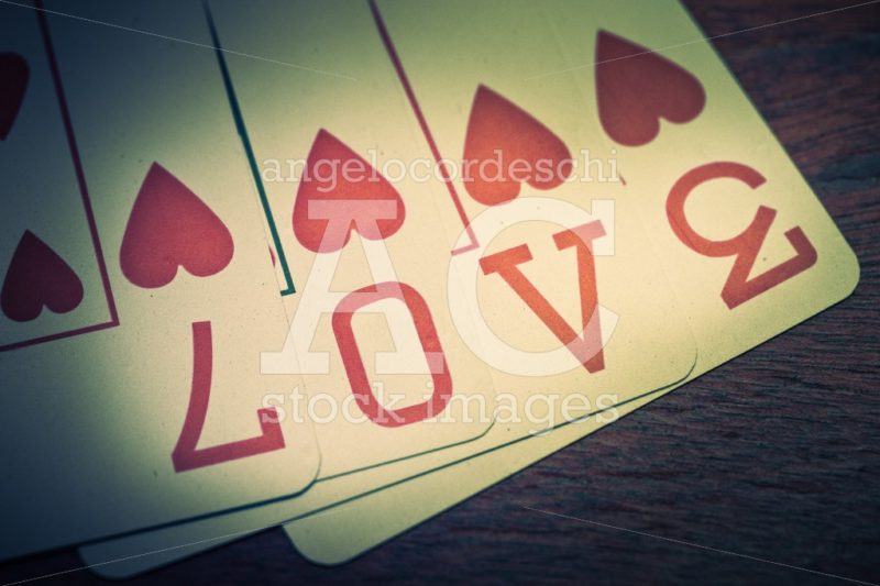 Love, Poker Playing Cards With Heart Symbol That Form The Writte Angelo Cordeschi