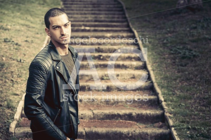 Model Handsome Man Near Steps. A Handsome Young Man Model Outdoo Angelo Cordeschi