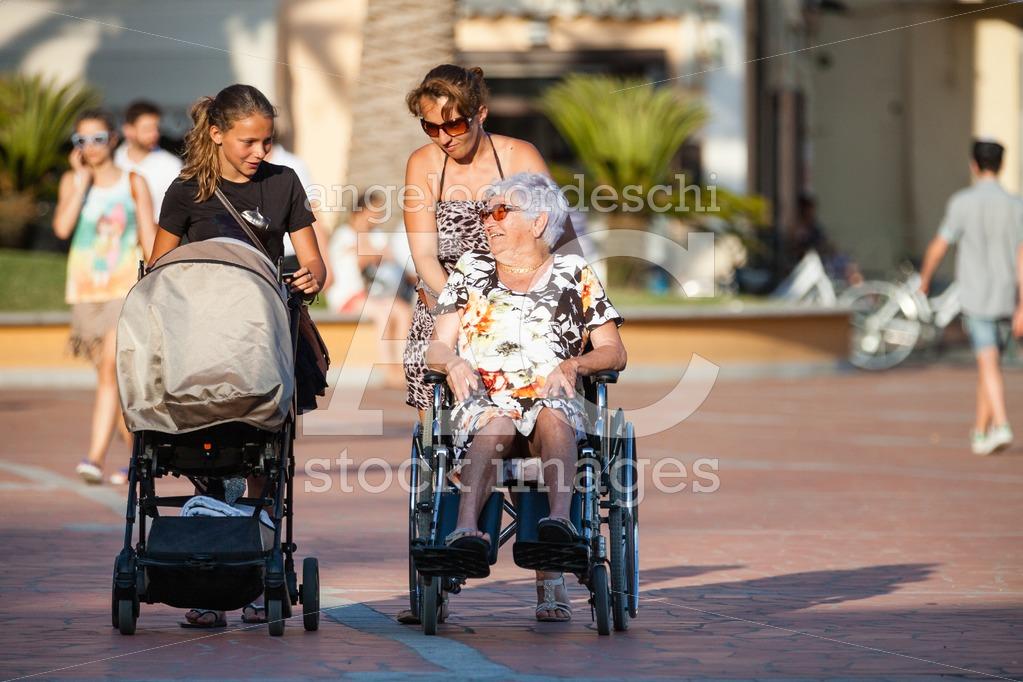 Porto Azzurro, Italy. June 26, 2016: Disabled With Wheelchair. W Angelo Cordeschi