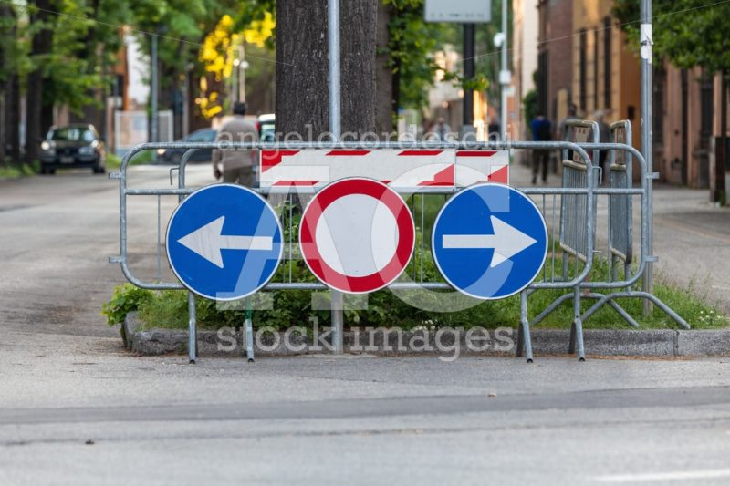 Road Signs. Deviation On The Route, Signaling Of An Obstacle And Angelo Cordeschi