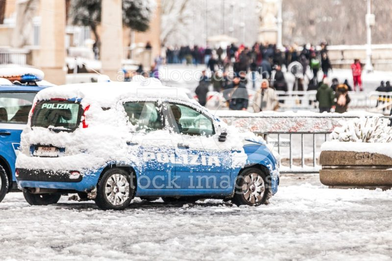 Rome, Italy. February 26, 2018: Police Car Covered By Snow In Ro Angelo Cordeschi