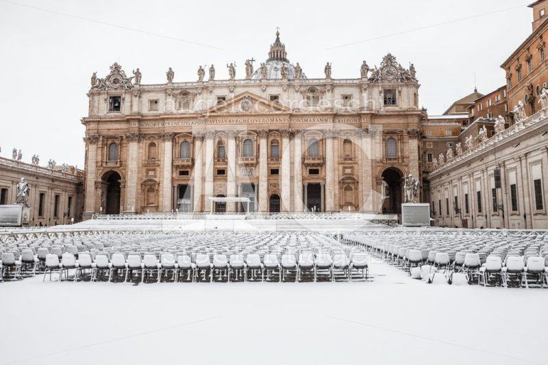 Rome, Italy. February 26, 2018: Rome With Snow, Piazza San Pietr Angelo Cordeschi