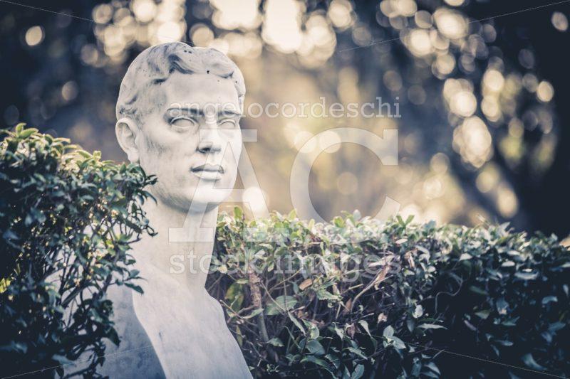 Rome, Italy. January 10, 2016: Half Body Statue In The Giardini Angelo Cordeschi