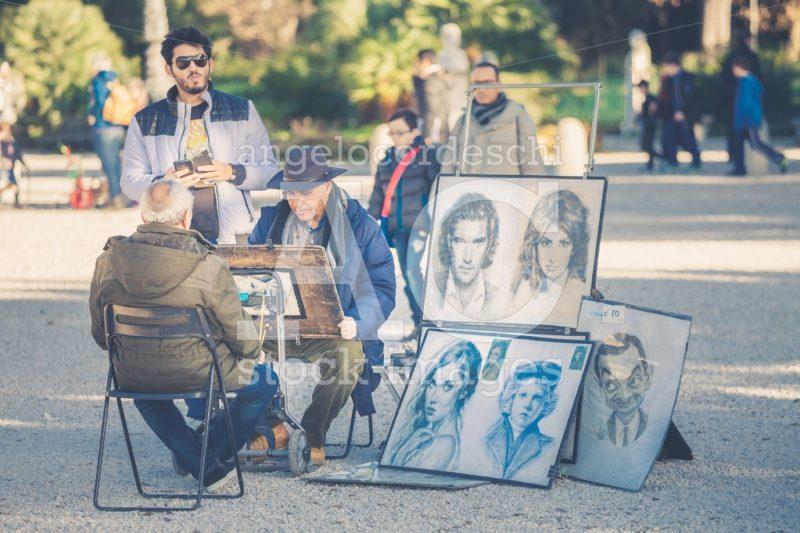 Rome, Italy. January 10, 2016: Portraitist Street. Designer Face Angelo Cordeschi