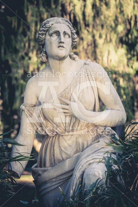 Rome, Italy. January 10, 2016: Statue In The Fontana (fountain) Angelo Cordeschi