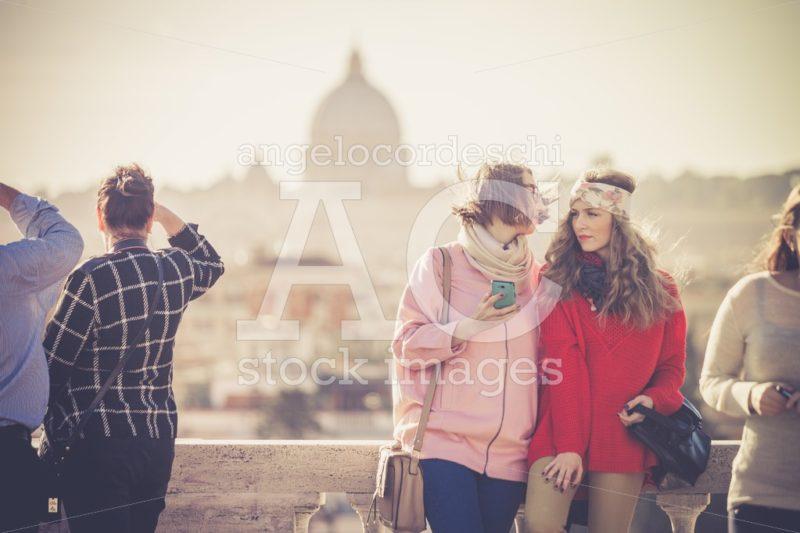 Rome, Italy. January 10, 2016: Tourists And People On The Pincio Angelo Cordeschi