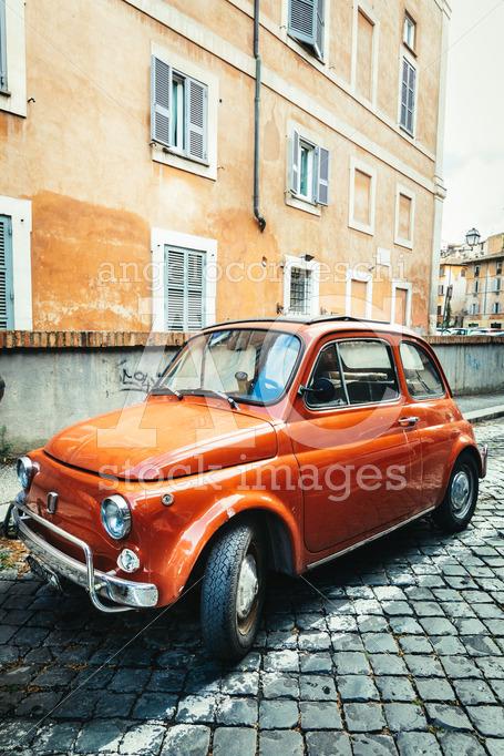 Rome, Italy. June 10, 2020: Old Compact Italian Car Fiat 500 Cin Angelo Cordeschi