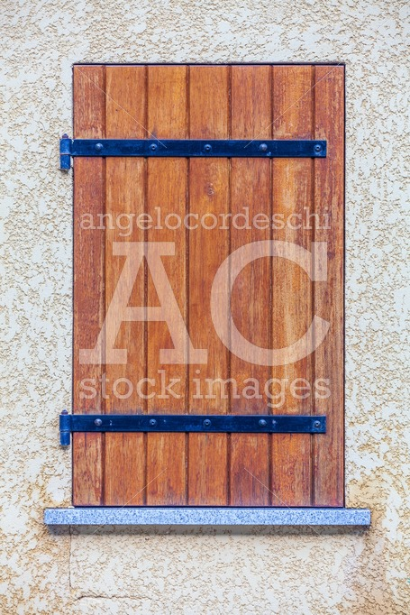 Rustic Window In Wooden Strips. Wood And Iron On Concrete Wall. Angelo Cordeschi