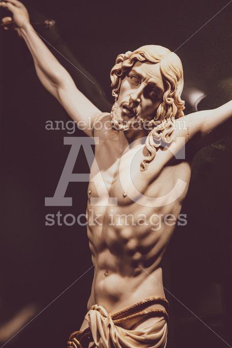 Sculpture Of Jesus Christ. Inside The Abbey Of Montecassino In I Angelo Cordeschi
