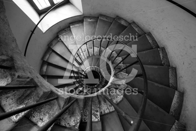 Spiral Stairs, Black And White. Architecture Old Italian Palace. Angelo Cordeschi