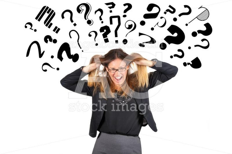Stressed business woman question marks above head. Pulling hair. - Angelo Cordeschi