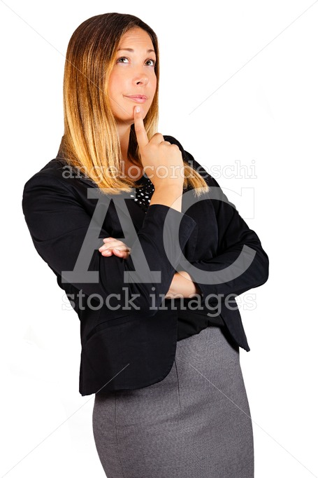Thinking woman with finger on her mouth isolated on white. - Angelo Cordeschi