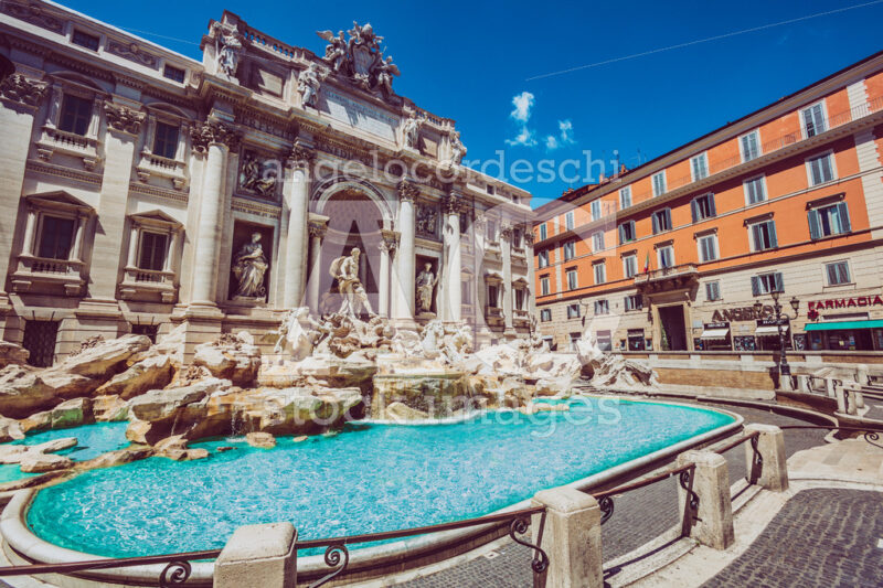 Trevi Fountain in Rome with nobody. Monument in one of the many landmarks in the capital of Italy - Angelo Cordeschi