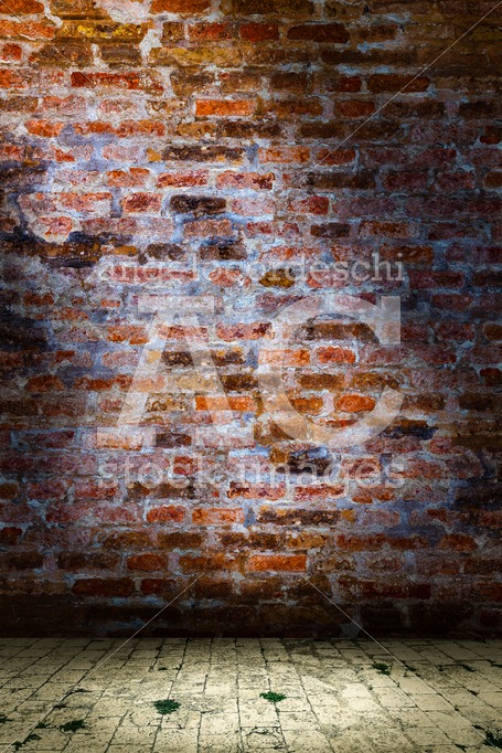 Wall scenery, backdrop urban background. Brown and cement brick - Angelo Cordeschi