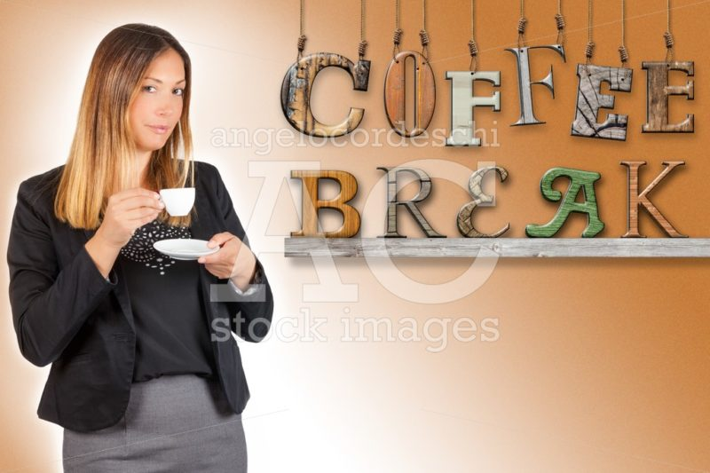 Woman Drinking Coffee With Text Coffee Break Hanging On Faded Gr Angelo Cordeschi