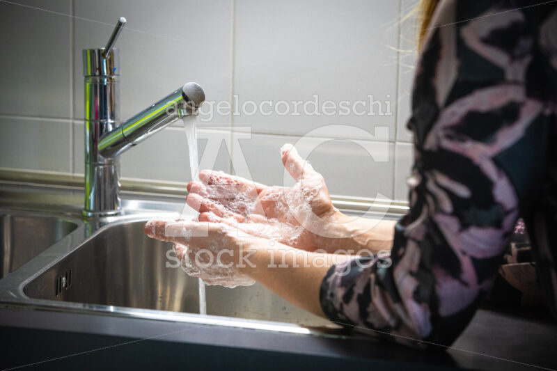 Woman Washing Her Hands With Soap In The Kitchen Sink. Soapy Han Angelo Cordeschi