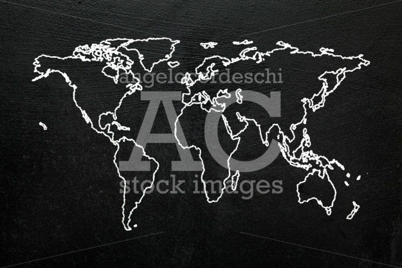 World map on blackboard. Sketch stylized globe map of the world - Angelo Cordeschi