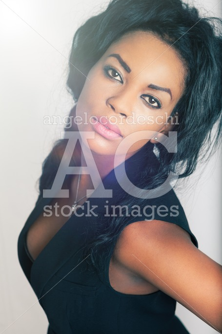 Young Black Woman, White Background. Beautiful Young African Ame Angelo Cordeschi